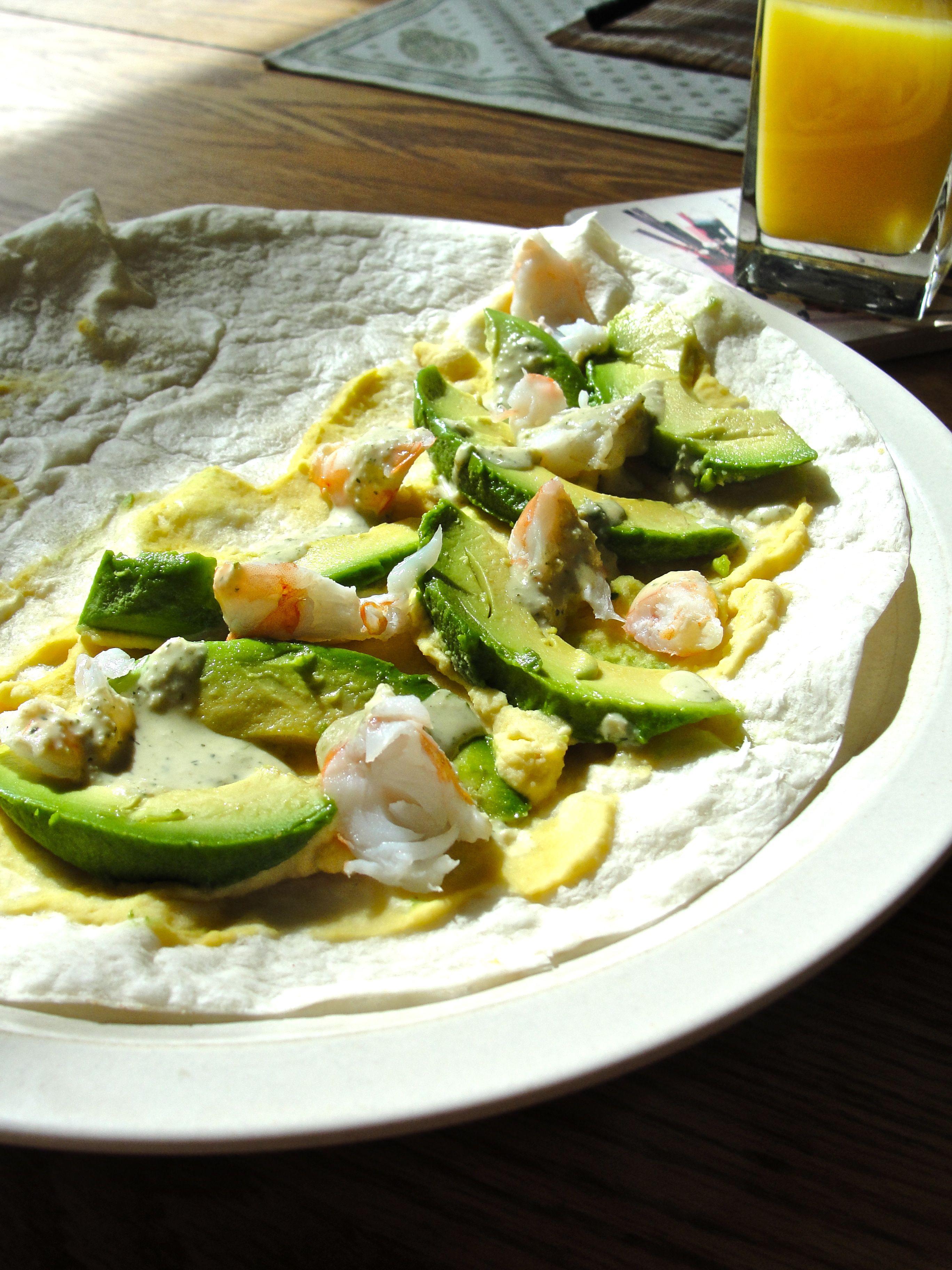 Avocado & Shrimp Quesadilla with Coconut Lime-Peanut Sauce