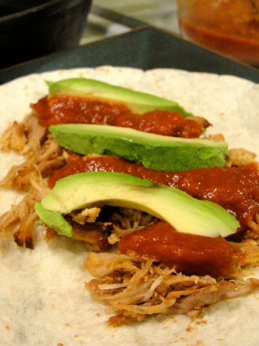 Chipotle carnitas and avocado taco