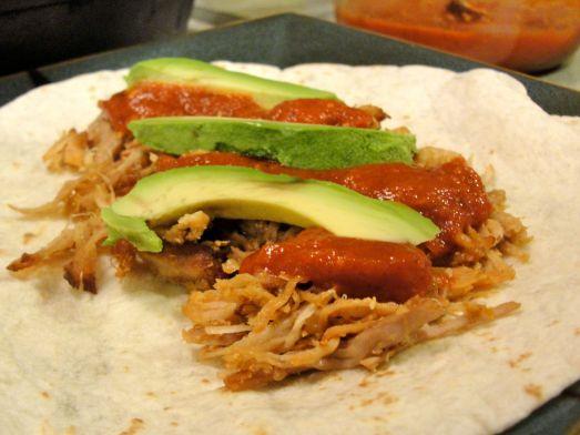 Chipotle carnitas and avocado taco
