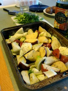 Fennel bulb and red potatoes prepared for oven roasting