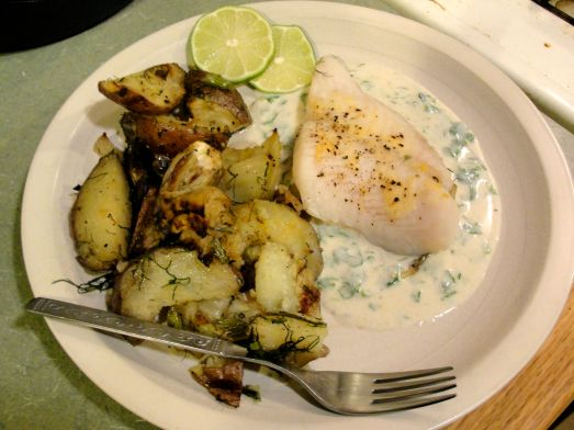 Whitefish with fennel, potatoes, and cilantro yogurt sauce