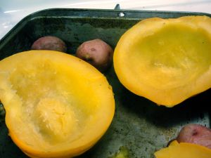 baked acorn squash and red potatoes