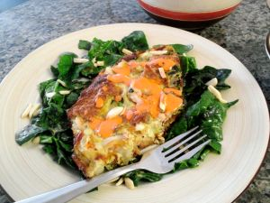 Almond  Shrimp Skillet Bread Pudding