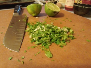 Chopped cilantro leaf and sliced garlic.
