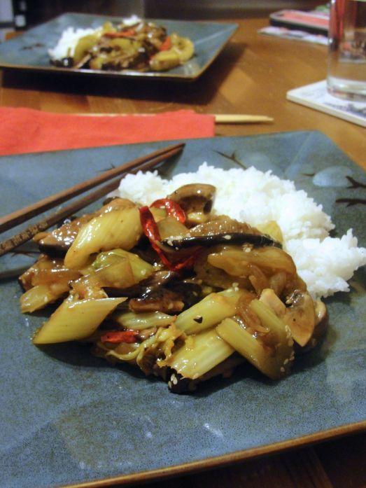Shiitake and Celery Stir-Fry with sesame and ginger, served with rice.