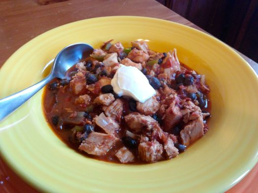 Turkey Chipotle Chili with a dollop sour cream