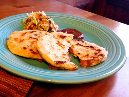 Refried bean and cheese Pupusas.