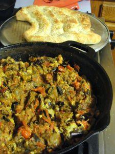 Mirza ghasemi and Barbari bread.