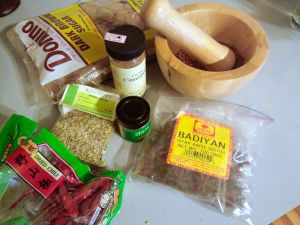 Dry rub ingredients.