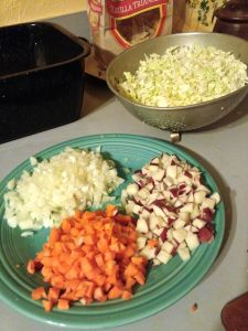 Onion, carrot, potato, and cabbage for pie filling.