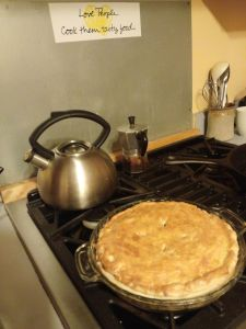 The finished, resting corned beef and cabbage pie.