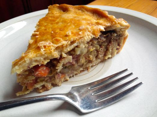 Corned beef and cabbage pie.