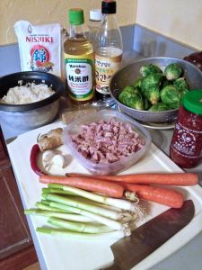 Ingredients for Brussels Sprouts and Ham Fried Rice.