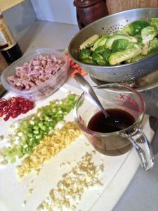 Prepped ingredients for Brussels Sprouts and Ham Fried Rice.