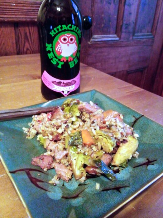 Brussels Sprouts and Ham Fried Rice served accompanied by Hitachino Nest Red Rice Ale.