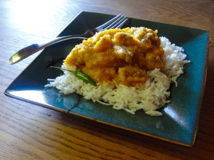 Pork and Pumpkin Stew served over basmati rice.
